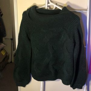 Cable knit chunky dark green sweater. US reg size.
